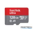 SanDisk Ultra microSDXC 128 GB memóriakártya (100MB/s 667X) + adapter, UHS-1 U1 class 10 A1 ( SDSQUAR-128G-GN6IA micro SD XC) (173449)