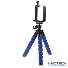 """Innotech univerzális állvány octopus tripod (kék) mini állvány akciókamerákhoz és kisebb fényképezőgépekhez, kamerákhoz (1/4"""" szabvány csatlakozás) + Állítható telefon tartó"""