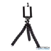 """Innotech univerzális állvány octopus tripod (fekete) mini állvány akciókamerákhoz és kisebb fényképezőgépekhez, kamerákhoz (1/4"""" szabvány csatlakozás) + Állítható telefon tartó"""