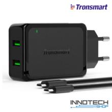 Tronsmart hálózati usb gyorstöltő 2 usb portos plusz 2 db usb-microusb kábel (QuickCharge Qualcomm 2.0, WC2F EU)