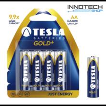 Tesla Batteries Gold+ AA alkáli tartós ceruza elem (Gold Plus, LR6, 1,5V) - 4 db / csomag