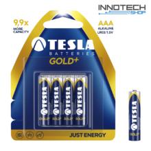 Tesla Batteries Gold+ AAA alkáli tartós mikro ceruza elem (Gold Plus, micro, LR03, 1,5V) - 4 db / csomag