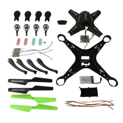 FQ01 kreatív DIY távirányítós drón építőkészlet quadcopter 32cm 4CH 2.4GHz (innovatív összeszerelős kialakítás nagy méret kamera nélküli FQ 01) - fekete