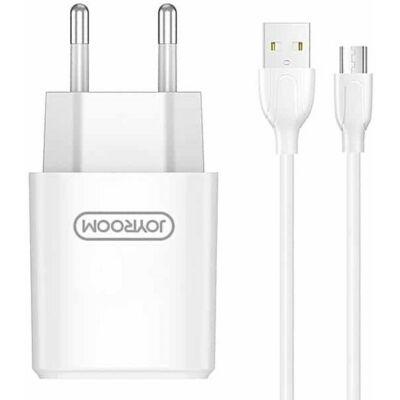 Joyroom L-M226 2.4A 2xUSB Hálózati Töltőfej + 1m Micro USB Töltőkábel - Fehér