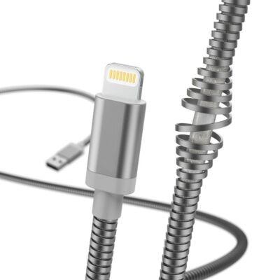 Hama Metal Lightning Apple adat kábel 1,5m - ezüst (183340)
