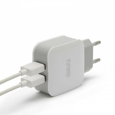 DELIGHT hálózati USB töltő 5V/2.1A (2 db USB aljzat) - fehér (55045-2WH)