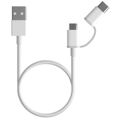 Xiaomi Mi 2-in-1 USB kábel (Micro USB -> Type C) 100cm - FEHÉR (XMM2IN1USBTC100)