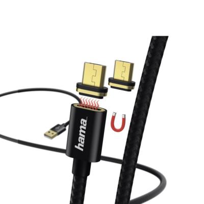 Hama adatkábel mágneses csatlakozóval Micro USB, 1 m - fekete (178373)