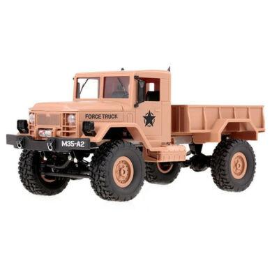 WPL M35 4x4 Military Truck távirányítós amerikai katonai szállító jármű 34cm 2.4GHz 4WD 1:16 U.S. Army harci RC teherautó munkagép - homok sárga