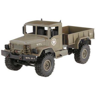 WPL B14 4x4 Military Truck távirányítós amerikai katonai szállító jármű 34cm 2.4GHz 4WD 1:16 U.S. Army harci RC teherautó munkagép - homok sárga