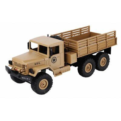 WPL B16 6x6 Military Truck távirányítós óriás amerikai katonai szállító jármű 41cm 2.4GHz 6WD 1:16 U.S. Army harci RC teherautó munkagép - homok sárga