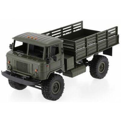 WPL B24 4x4 Army Truck távirányítós Gaz-66 katonai szállító jármű 34cm 2.4GHz 4WD 1:16 harci RC teherautó munkagép - zöld
