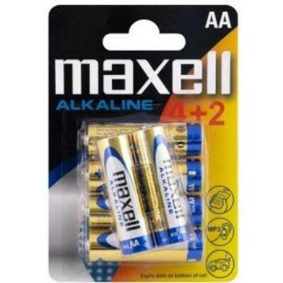 Maxell AA alkáli tartós elem (LR-6, 1,5V) - 6 db / csomag