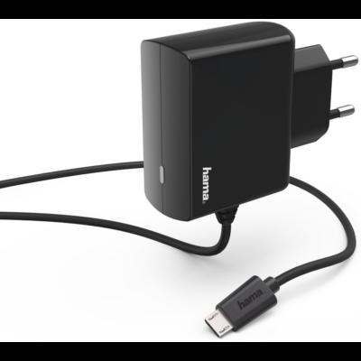Hama hálózati töltő micro USB 2,4A, fekete (183247)