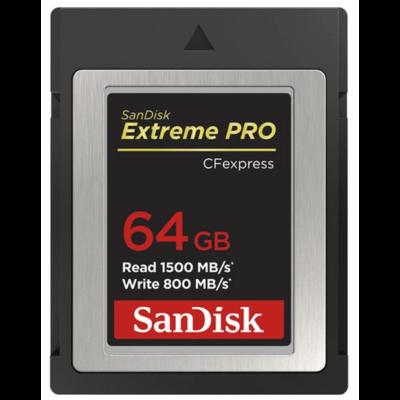 Sandisk Cfexpress extreme pro® kártya 64GB, Type B, 1500MB/s, 800MB/s (186484)