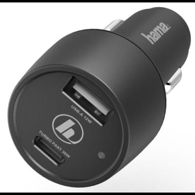 """Hama univerzális autós USB, USB Type-C töltő """"PD"""" (42W) (183323)"""