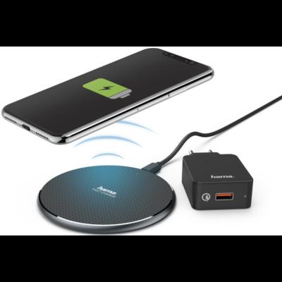 """Hama vezeték nélküli mobiltelefon """"Qi-FC10"""" töltő +QC 3.0, 10W, fekete (188322)"""