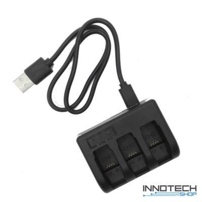 Akció kamera tripla akkumulátor töltő keret USB kábellel GoPro Hero 5 6 7 és Hero 2018 kamerákhoz