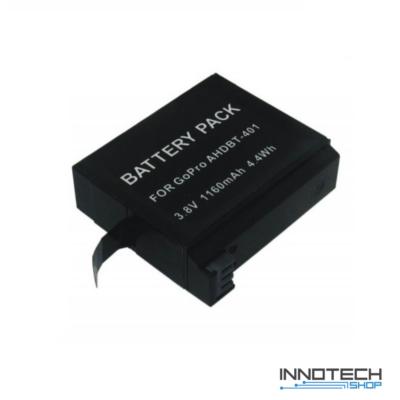 1160 mAh Li-ion utángyártott akku akkumulátor GoPro Hero 4 akciókamerákhoz (AHDBT-401 AHDBT 401)