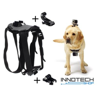 SJCAM / GoPro kompatibilis kutyahám SJ/GP-128 kettő kameraállással (kutyás akció kamera rögzítő tartó kutya hám SJ GP-128)