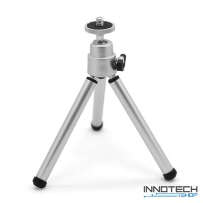 """Innotech teleszkópos állvány (195 mm tripod) akciókamerákhoz és kisebb fényképezőgépekhez, kamerákhoz (1/4"""" szabvány csatlakozás mini statív) - ezüst"""