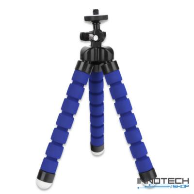 """Innotech univerzális állvány octopus tripod mini állvány akciókamerákhoz és kisebb fényképezőgépekhez, kamerákhoz (1/4"""" szabvány csatlakozás) -  kék"""