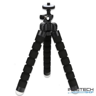 """Innotech univerzális állvány octopus tripod mini állvány akciókamerákhoz és kisebb fényképezőgépekhez, kamerákhoz (1/4"""" szabvány csatlakozás) - fekete"""
