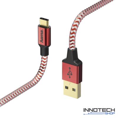Hama Reflective usb type-c adat kábel 1,5m - piros (178296)