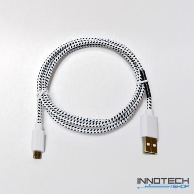 Hama micro usb adat kábel szövet bevonattal 1m - fehér (20075)