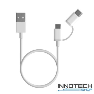 Xiaomi Mi 2-in-1 USB kábel (Micro USB ->Type C) 30cm - FEHÉR