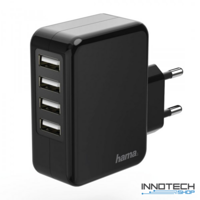 Hama hálózati USB 4x töltő auto detect 4,8 A (4 db USB aljzat) (173676)