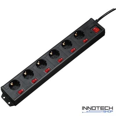Hama hálózati elosztó 6-os XL külön kapcsolható fekete 1,4 m (137259)