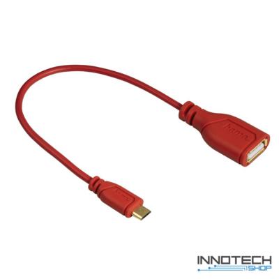 Hama micro usb - otg adapter adat kábel - piros (135707)