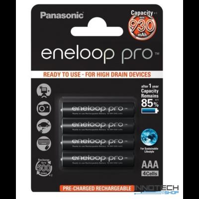 Panasonic ENELOOP Pro 4 db AAA 930 mAh újratölthető elem NI-Mh akku (AAA R2U előretöltött akkumulátor) BL/4 (BK-4HCDE)