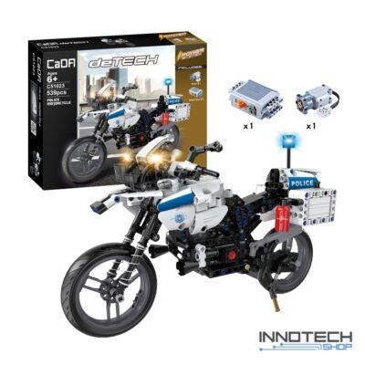 Double Eagle építőkészlet játék szett rendőrmotor (539 db, 33,7 cm 2.4GHz) RC rendőr motor EE Double E CaDa (C51023W) (lego technic kompatibilis)