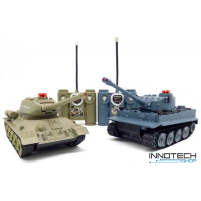 UF 555 1:24 (30cm) RC tank csata szett életerővel infra lövéssel German Tiger vs Russian T34 (UniFun távirányítós játék német tigris és orosz T34) RTR