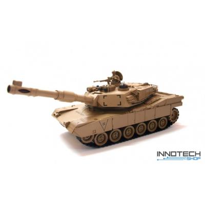 Zegan 99803 amerikai M1A2 Abrams 1:28 (36cm) távirányítós játék infra tank harckocsi (tankcsata életerővel RC RTR Zegan 99803) - sivatagi terepszínű