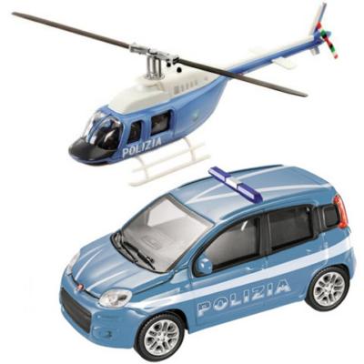 Rendőrségi Fiat Panda és helikopter fém modell szett 1/43 - Mondo
