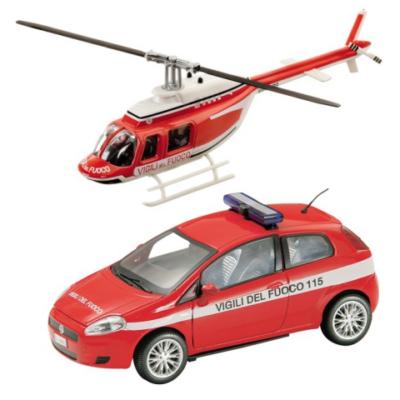 Tűzoltó Fiat Bravo és helikopter fém modell szett 1/43 - Mondo
