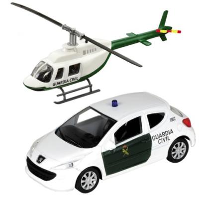 Guardia Civil Peugeot 308 és helikopter fém modell szett 1/43 - Mondo