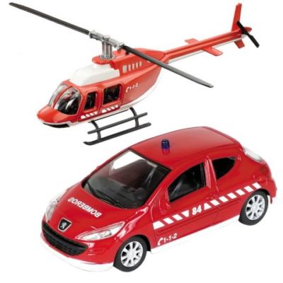 Tűzoltó Peugeot 308 és helikopter fém modell szett 1/43 - Mondo