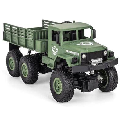 JJRC Q69 Transporter-8 6WD 1:18 31cm RC távirányítós katonai szállító teherautó (2.4GHz 6x6 off-road RTR autó fényszóróval) - zöld
