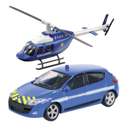 Gendarmerie Renault Megane és helikopter fém modell szett 1/43 - Mondo