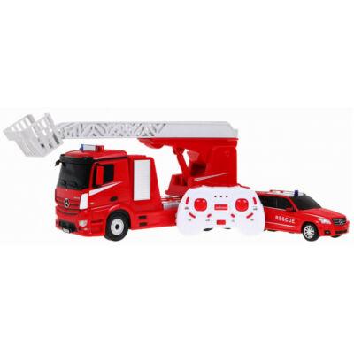 Mercedes-Benz Antos távirányítós modell tűzoltó autó és kísérő autó 1:24 35cm Rastar 78640 RTR modellautó - piros