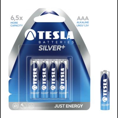 Tesla Batteries Silver+ AAA alkáli tartós mikro ceruza elem (Silver Plus, micro, LR03, 1,5V) - 4 db / csomag