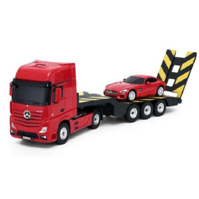 Mercedes-Benz Actros vontató teherautó piros 1:24 52cm óriás távirányítós RC játék plusz távirányítós modell autó Rastar 74940 RTR modellautó
