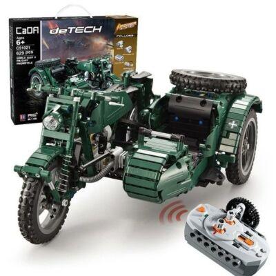 Double Eagle távirányítós építőkészlet oldalkocsis katonai motor (629 db, 36 cm 2.4GHz) RC harci építőkocka játék szett EE Double E CaDa (C51021W)