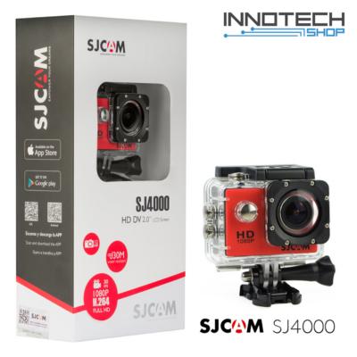SJCAM SJ4000 akció kamera sportkamera 2 colos kijelzővel gyári kiegészítőkkel (piros) (SJ4000R)