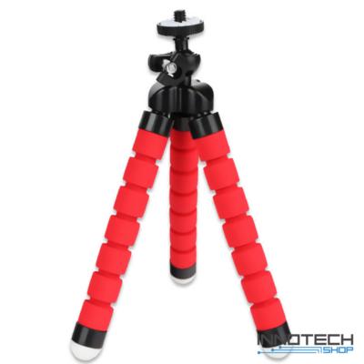 """Innotech univerzális állvány octopus tripod mini állvány akciókamerákhoz és kisebb fényképezőgépekhez, kamerákhoz (1/4"""" szabvány csatlakozás) -  piros"""