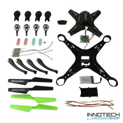 FQ01 kreatív DIY távirányítós drón építőkészlet quadcopter 32cm 4CH 2.4GHz (innovatív összeszerelős kialakítás nagy méret kamera nélküli FQ 01, magyar nyelvű útmutatóval) - fekete